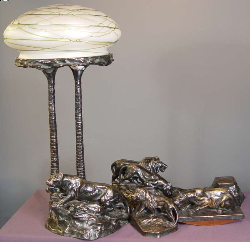 gornik austrian 1877 1943 4 piece lion desk set includes lamp. Black Bedroom Furniture Sets. Home Design Ideas